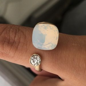 White Stone ring gold plated with gem
